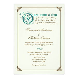 Storybook Fairytale Wedding Invitation - Dark Teal
