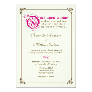 Storybook Fairytale Wedding Invitation - Magenta