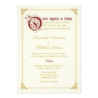 Storybook Fairytale Wedding Invitation -Red Gold