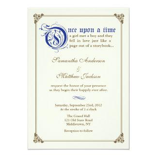Storybook Fairytale Wedding Invitation -Royal Blue