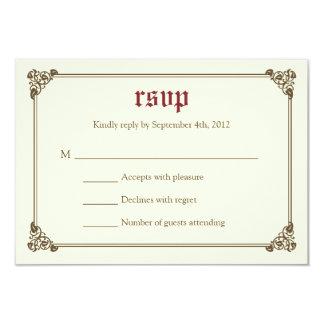 Storybook Fairytale Wedding RSVP Card - Burgundy 9 Cm X 13 Cm Invitation Card