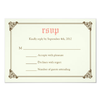 Storybook Fairytale Wedding RSVP Card - Pink 9 Cm X 13 Cm Invitation Card