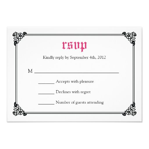 Storybook Fairytale Wedding RSVP Card - Pink/Black