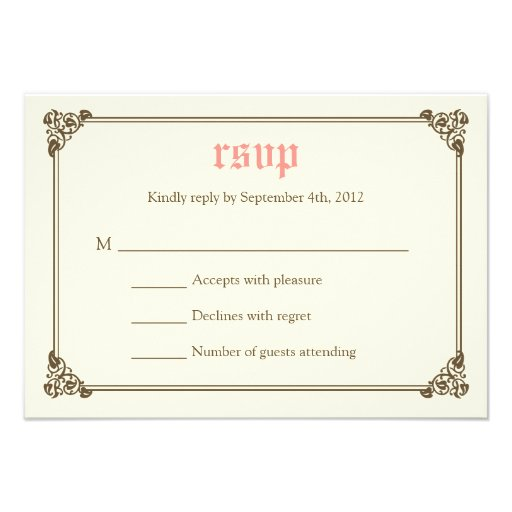 Storybook Fairytale Wedding RSVP Card - Pink Announcements