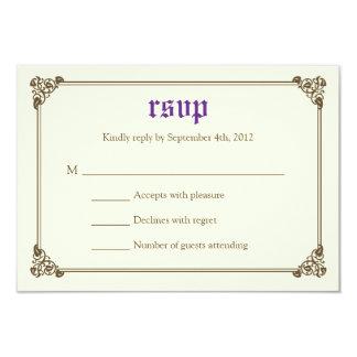 Storybook Fairytale Wedding RSVP Card - Purple