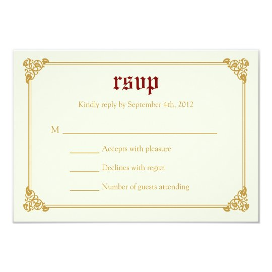 Storybook Fairytale Wedding RSVP Card - Red/Gold