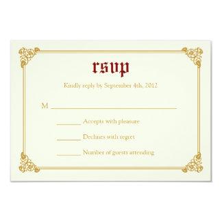 Storybook Fairytale Wedding RSVP Card - Red/Gold 9 Cm X 13 Cm Invitation Card