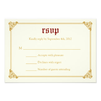 Storybook Fairytale Wedding RSVP Card - Red Gold