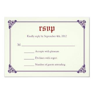 Storybook Fairytale Wedding RSVP Card -Red/Purple 9 Cm X 13 Cm Invitation Card