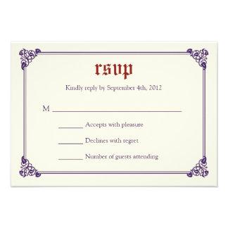 Storybook Fairytale Wedding RSVP Card -Red Purple