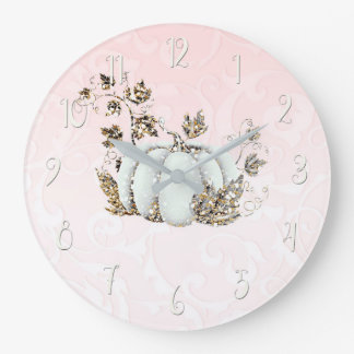 Storybook Pink & White Pumpkin Fairy Tale Large Clock