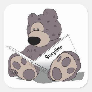 Storytime Teddy Bear Square Sticker