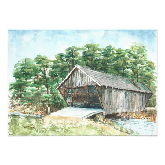 Stovall Mill Covered Bridge Watercolor Card