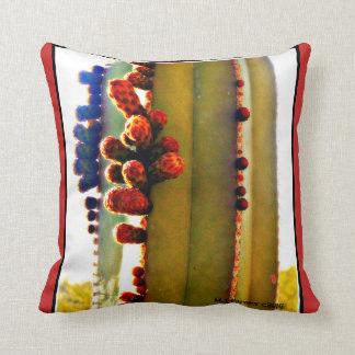 Stove Pipe Cactus in Bloom Custom Throw Pillow