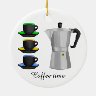 Stove Top Espresso Make And Cups Pattern Christmas Ornament