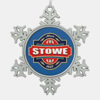 Stowe Old Label Snowflake Pewter Christmas Ornament