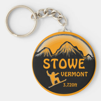 Stowe Vermont orange snowboard art keychain
