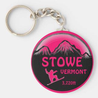 Stowe Vermont pink snowboard art keychain