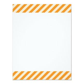 "[STR-OR-1] Orange and white candy cane striped 4.25"" X 5.5"" Invitation Card"