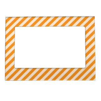 [STR-OR-1] Orange and white candy cane striped Magnetic Picture Frame