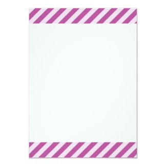 [STR-PU-1] Purple and white candy cane striped 11 Cm X 16 Cm Invitation Card