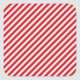 [STR-RD-1] Red and white candy cane striped Square Sticker