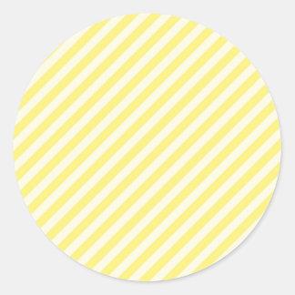 [STR-YE-1] Yellow and white candy cane striped Round Sticker