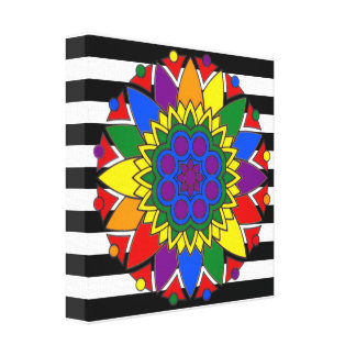 Straight Ally Flag Colors LGBT Supporter Mandala Stretched Canvas Print