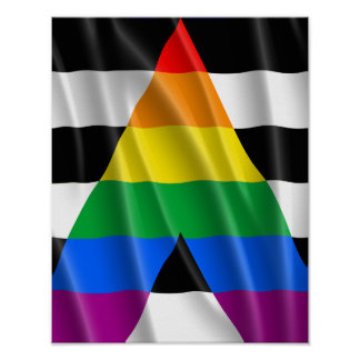 STRAIGHT ALLY FLAG WAVY DESIGN POSTER