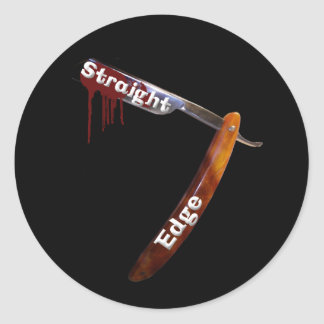 Straight Edge Straight Razor Round Sticker