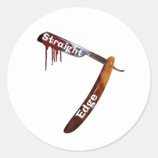 Straight Edge Straight Razor Round Stickers