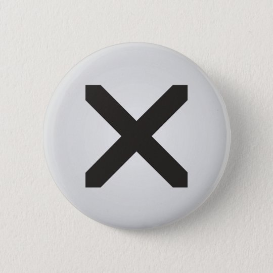 Straight Edge X 6 Cm Round Badge