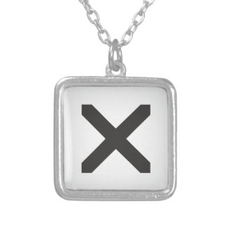 Straight Edge X Silver Plated Necklace