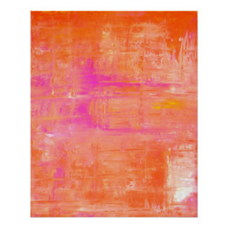 'Straight Forward' Pink and Orange Abstract Art Poster