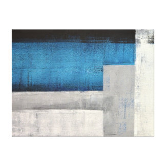 'Straight Forward' Teal and Grey Abstract Art Gallery Wrapped Canvas
