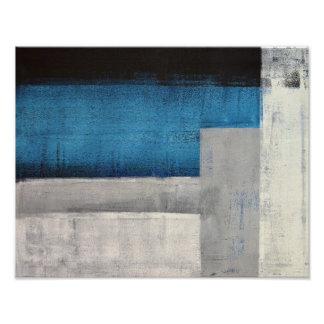 'Straight Forward' Teal and Grey Abstract Art Poster