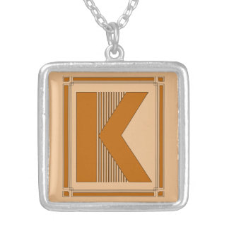 Straight lines art deco with monogram, letter K Square Pendant Necklace