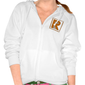 Straight lines art deco with monogram, letter R Hoody