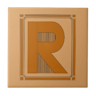 Straight lines art deco with monogram, letter R Tile