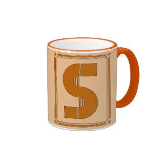 Straight lines art deco with monogram, letter S Ringer Mug
