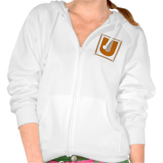 Straight lines art deco with monogram, letter U Pullover