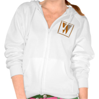 Straight lines art deco with monogram, letter W Hoody