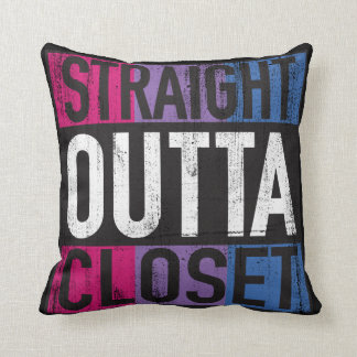 Straight Outta Closet Parody LGBT Bisexual Cushion