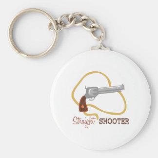 Straight Shooter Basic Round Button Keychain