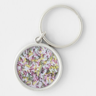 Straight Sugar Sprinkles Silver-Colored Round Key Ring