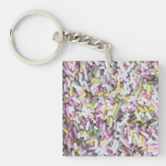 Straight Sugar Sprinkles Single-Sided Square Acrylic Key Ring