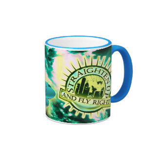 Straighten Up and Fly Right Turquoise Handled Mug