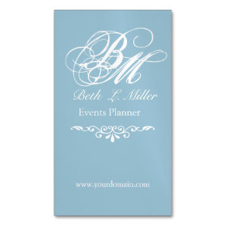 Straightforward  Lettering Monogrammed Magnetic Business Card