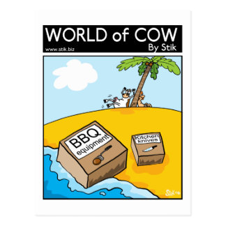 Stranded soon-to-be-burger cow postcard