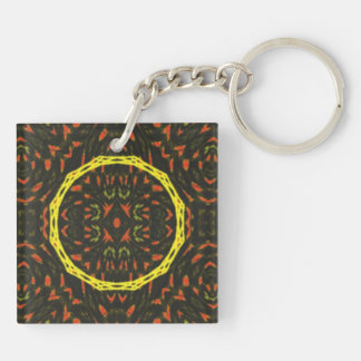Strange abstract pattern Double-Sided square acrylic key ring